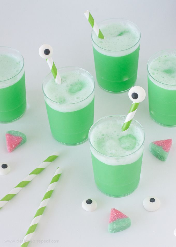 | Monster Watermelon Punch with DIY Eyeball Drink Stirrers |