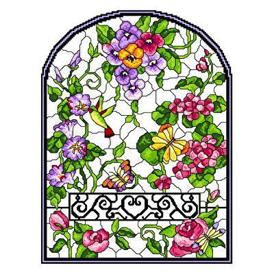 Stain Glass Summer Cross Stitch Pattern