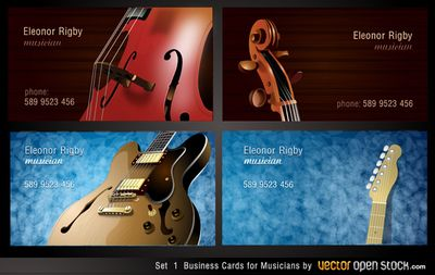 34 best business cards free vectors images on pinterest lipsense 4 amazing business cards for musicians featuring guitar and violin instruments vector ai format reheart Choice Image