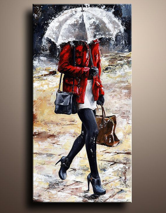 Rainy Day  Woman of New York 09 Figure Canvas Art PRINT by itarts, $165.00