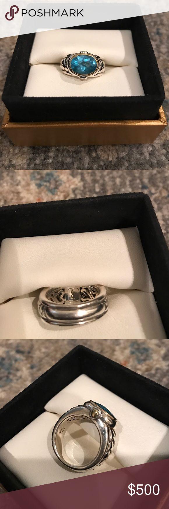 Scott Kay Blue Topaz & Sterling Silver Ring Excellent condition beautiful Scott Kay Blue Topaz ring.  Sterling silver with gold.  Size 7-8. scott kay Jewelry Rings