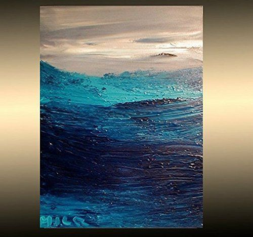 SEASCAPE BLUE  ORIGINAL OIL ABSTRACT  ART CANADIAN LISTED   LARGE CANVAS H4HW45