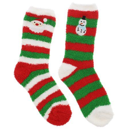Gold Medal Women's Christmas Plush Fuzzy Slipper Socks (2 Pair), One Size