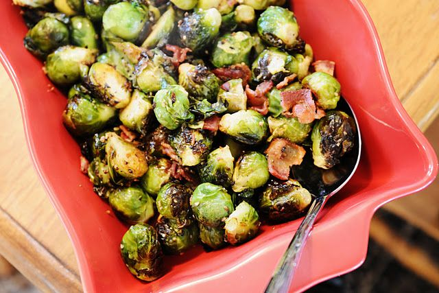 Brussels Sprouts roasted with Bacon and Garlic - Yum!  :)  thethriftygourmetcooks.blogspot.com