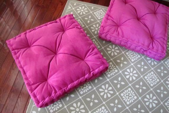 Velvet Floor Pillow Fuchsia Pink Tufted Floor Cushion With French Mattress Quilting Stuffed 24x24x4 Floor Pouf Custom Floor Seating Floor Pillows Floor Pouf Floor Cushions