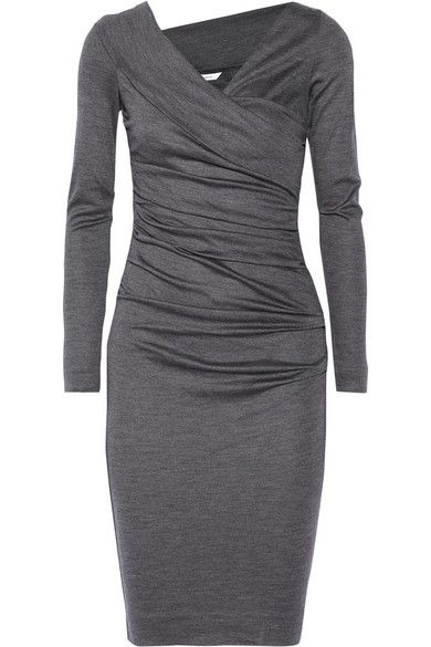 Diane von Furstenberg Bentley ruched wool jersey dress. Love the look and color of this!