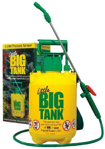 Liquid Fence 120 Little Big Tank Sprayer, 5-Liter Tank Pump Sprayer by Liquid Fence. $20.86. Locking on off trigger. 1-1/2 meter heavy-duty hose. Safety pressure release valve. Polyethylene, non-corrosive. Adjustable brass spray nozzle. Our popular 5 Liter tank sprayer has got a brand new look and name Little Big Tank. This durable pressure sprayer is the perfect size for all big or small Liquid Fence jobs.