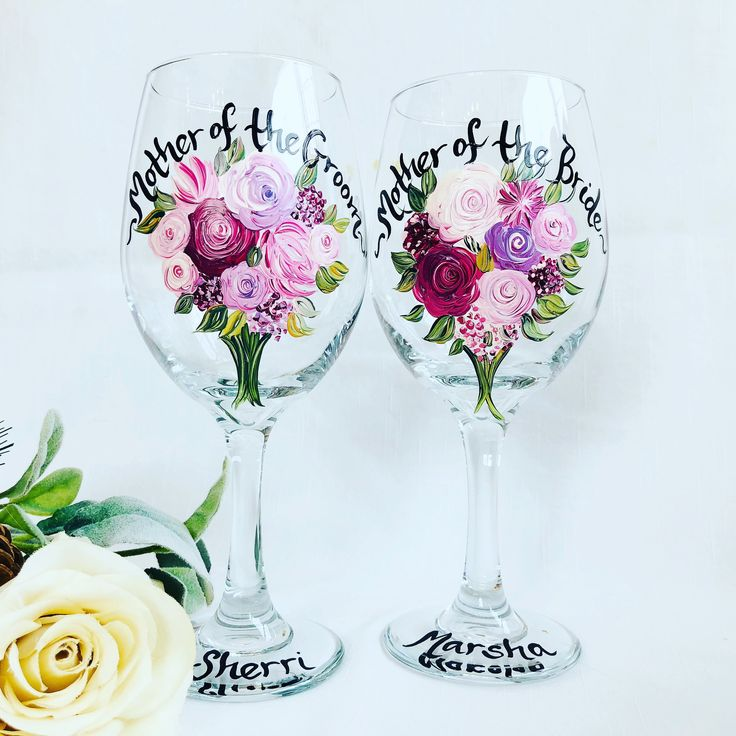 Hand Painted Mother Of The Bride And Groom Wine Gles Bridal Party Glware For