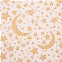 Tissu Michael Miller blanc à paillettes Moon and Stars avec des lunes et étoiles