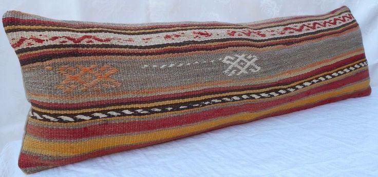 12x40'' Tribal Pattern Hippie Bedding Kilim Pillow Cover, Woven Bohemian Bedding #Handmade