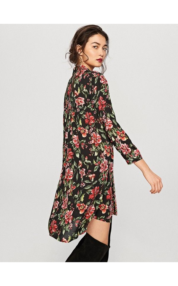 Sukienka w kwiaty, KOSZULE, czarny, RESERVED