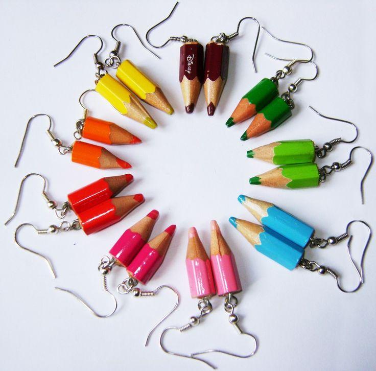 orecchini con matite colorate - Cerca con Google