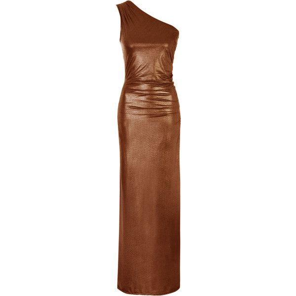 Gold Foil One Shoulder Maxi Dress (£60) ❤ liked on Polyvore featuring dresses, brown dress, brown slip dress, off one shoulder dress, single shoulder dress and maxi slip dresses