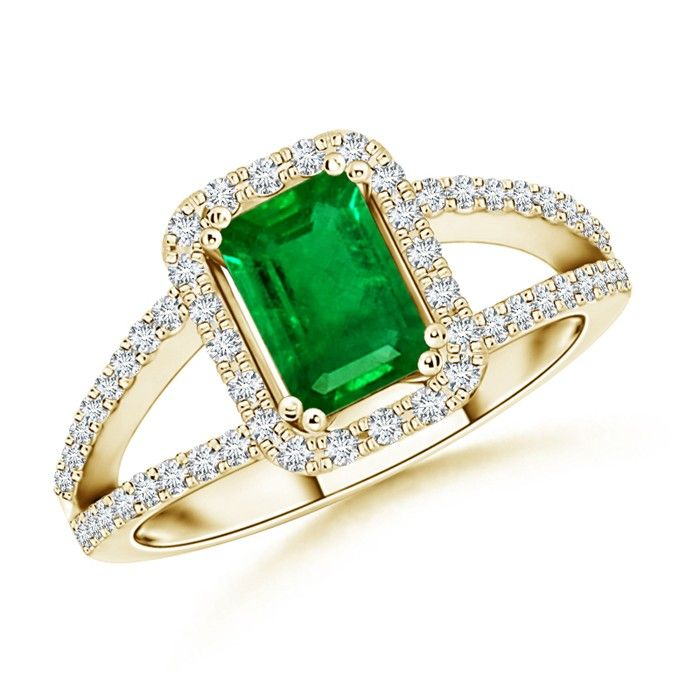 Angara Four Prong Emerald and Diamond Split Shank Halo Ring in Yellow Gold