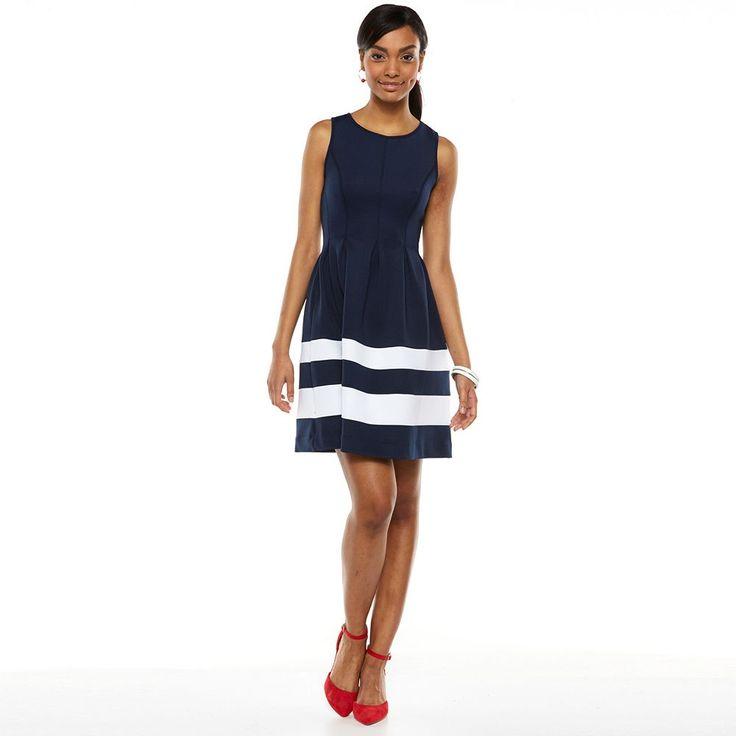 Apt 9 174 Colorblock Fit Amp Flare Scuba Dress Women S