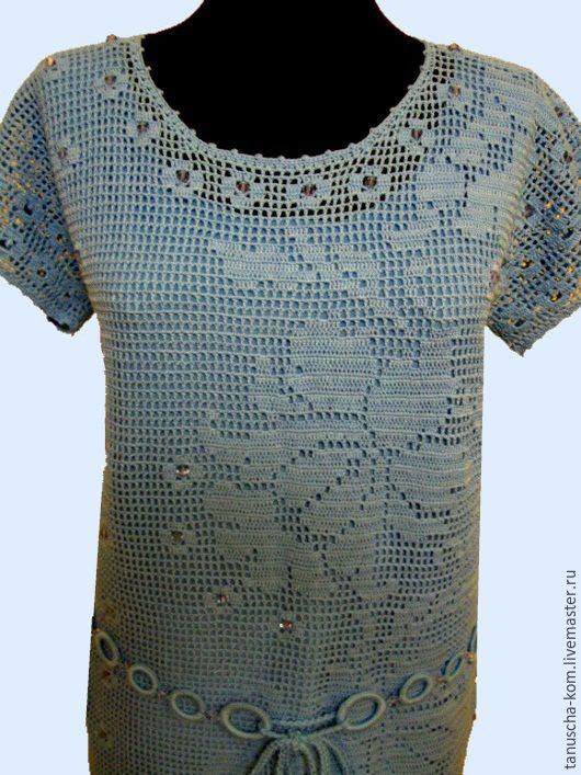 Платье крючком голубое филейной сеткой Незабудка – купить или заказать в  интернет-магазине на Ярмарке Мастеров  5071647e64530