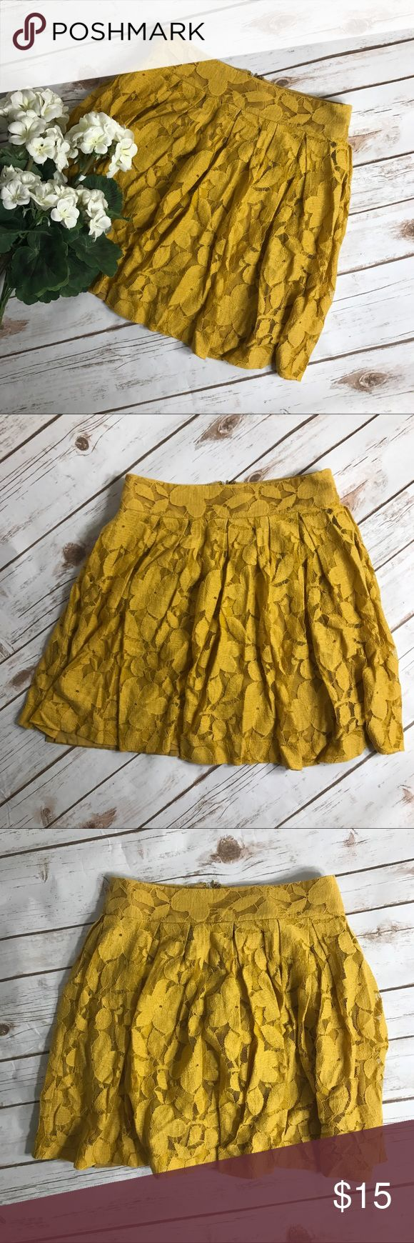 "Women's Anne Taylor Loft Yellow Lace Skirt Eye catching Anne Taylor Loft Yellow Lace Mini Skirt. Has a lining underneath Lace and a back zipper and hook closure. In great condition. See pictures for Skirt material tag. Measurements for flat lay- Waist (25"") Length (16.5"") Like the skirt but not the price? Make me an offer. I consider all offers. anne taylor loft Skirts Mini"
