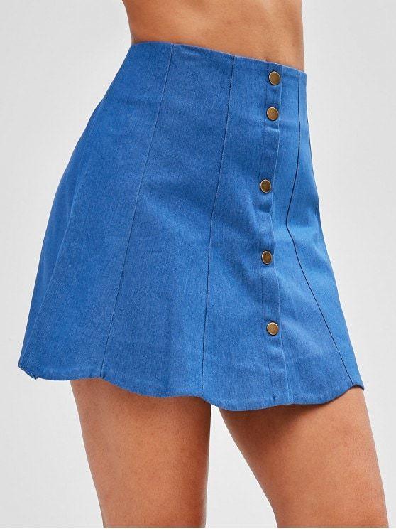 7cd95a3fb0 Button Fly Scalloped Denim Skirt in 2019 | look good, feel good | Fashion,  Skirts, Denim skirt