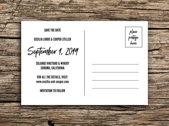 Save the date postcards featuring a vintage image of wine country and breezy typography. Perfect for your vineyard or winery wedding in Sonoma, Mendocino, Napa, or elsewhere! // PAPER AND PRINTING // *Each postcard measures 4 by 6 inches. *Printed on both sides. *Standard card stock