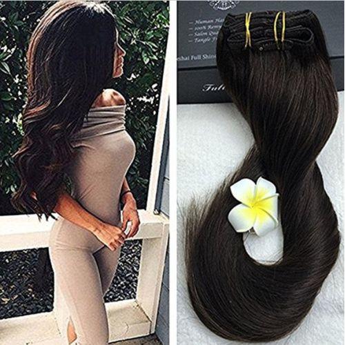 Натуральные волосы на заколках Черный натуральный №01В