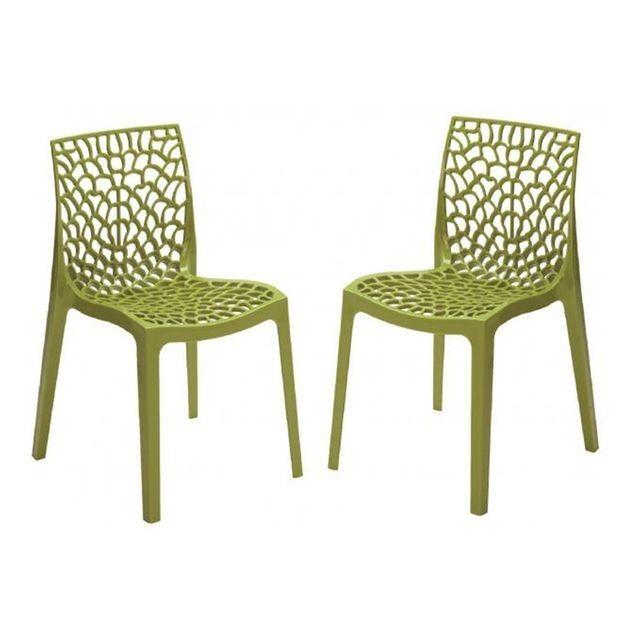 Lot De 2 Chaises Design Vertes Anis Filet Vert Declikdeco La Redoute Chaise Design Chaise De Salon Chaise