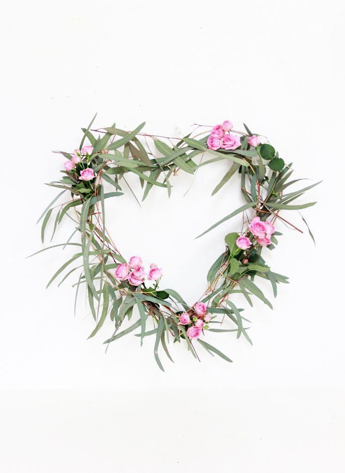 eucalyptus wreath, heart wreath, valentine ideas, floral wreath diy ideas
