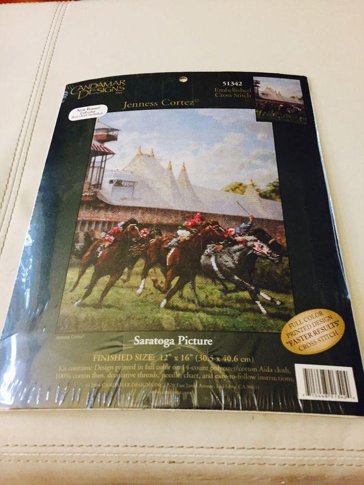 Candamar Stamped Cross Stitch Kit 51342 Saratoga Horse Racing Jenness Cortez new #CandamarDesigns #Picture