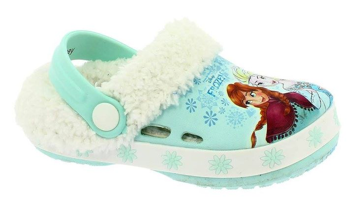 Crocs Frozen imblaniti turcoaz cu Anna si Elsa