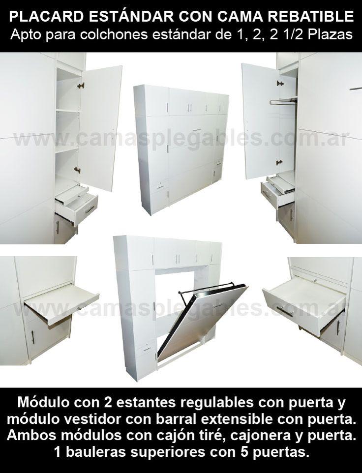 Mueble placard con cama rebatible plegable para colchon 2 plazas 003