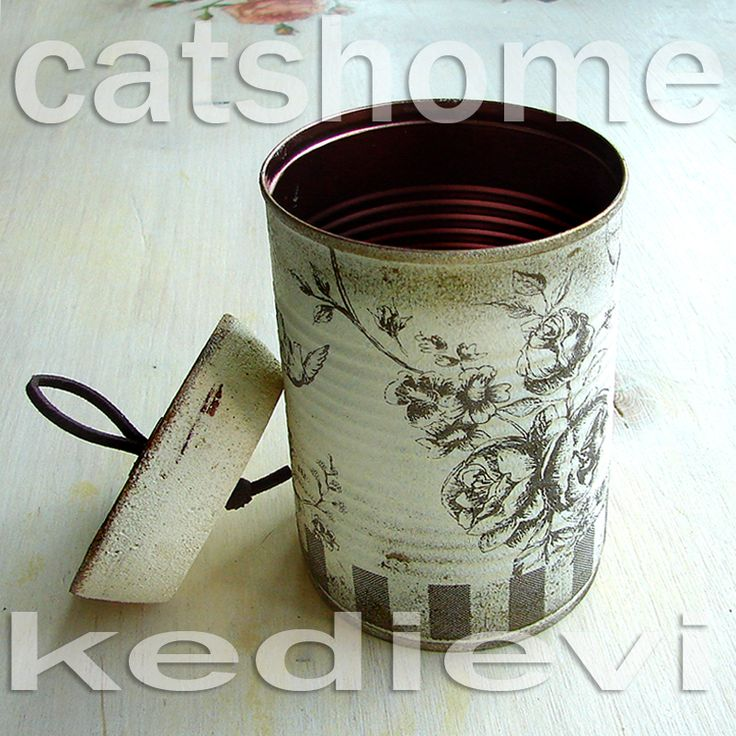 decorative tins made by napkin decoupage