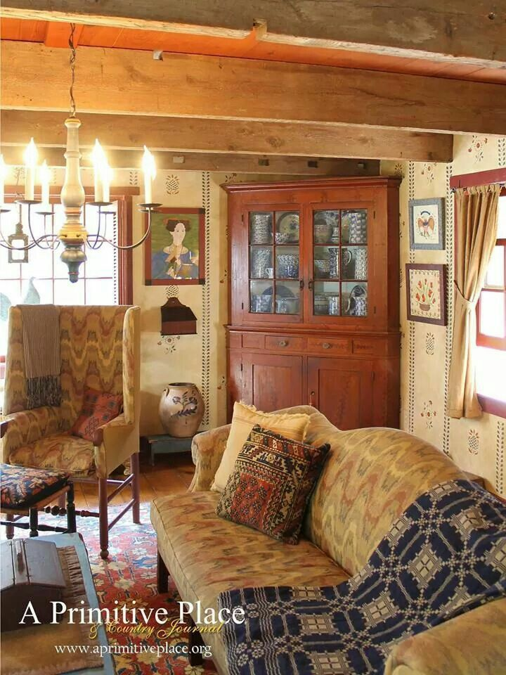 63 best colonial or early american living rooms images on pinterest prim decor primitive - Primitive curtains for living room ...