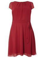 Womens **Billie & Blossom Curve Red Chiffon Dress- Red