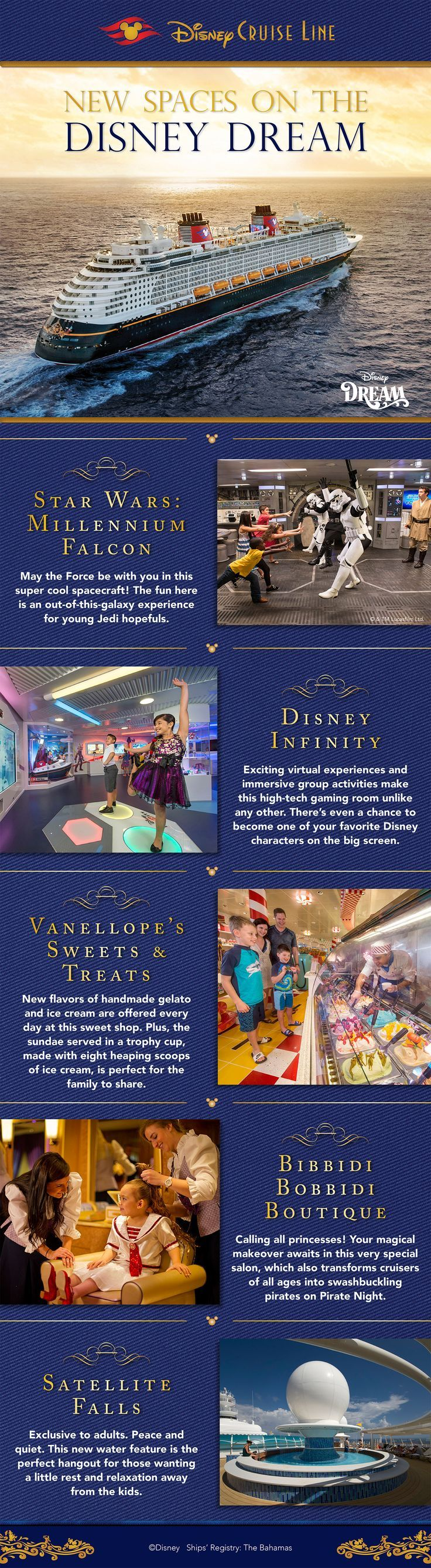 Disney Cruise Line has recently debuted brand-new spaces on the Disney Dream, including the first-ever play area on a Disney ship themed to Star Wars! Here's an inside look at these new spaces onboard the recently enhanced Disney Dream. crystal@wishuponastarwithus.com | 217-953-0535