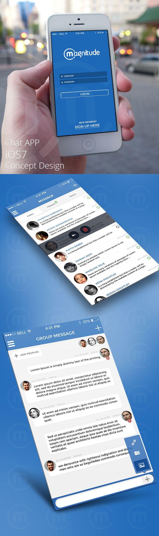 Chat app ios7 concept design ui graphic design flat ios7