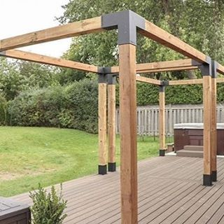 Pergola Kit With Shade Sail For 6x6 Wood Posts Outdoor