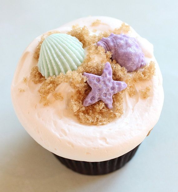 36 fondant seashells cupcake toppers-fondant cupcake toppers, weddings, edible cupcake tops, fondant seashells, purple and blue seashell
