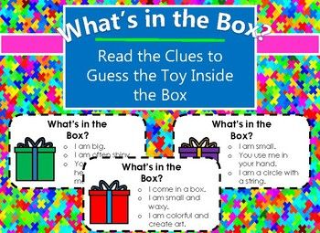 Need a way to get those brains working? Use the clues to try and guess what toy is in the box! Kids are sure to enjoy this guessing game, because who doesn't like toys?! The toys I have included are traditional toys and are common. However, in a world where technology rules, this could also double as an awesome way to learn some new words!