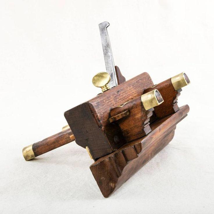 Antique English Walnut and Brass Rabbeting Plane Tool 1915