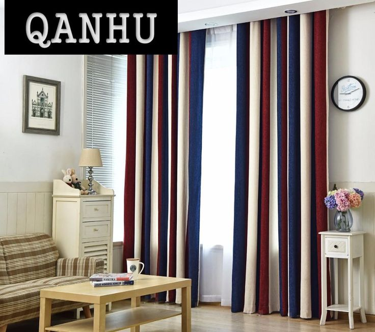 QANHU European style Color Blackout Bars Jacquard Curtains for Bedroom Tulle Curtains Sets in the Nursery Drapery Window #1-7