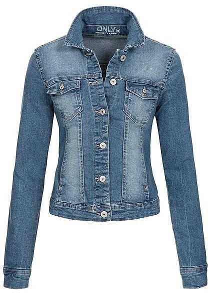 ONLY Damen Jeans Jacke NOOS 2 Taschen 2 Brusttaschen Knopfleiste medium blau denim