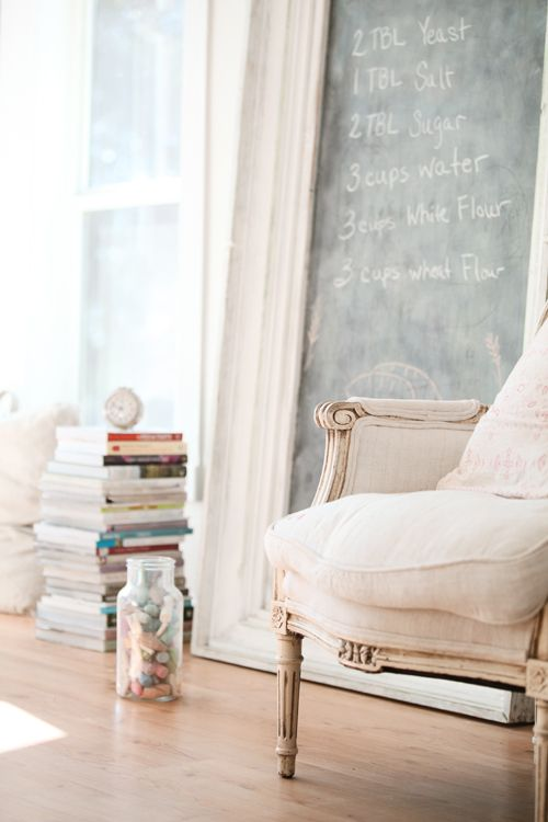 Love the idea of the door with the black paint: Interior, Chalkboards, Idea, Living Room, Framed Chalkboard, Chalk Boards, White, Design