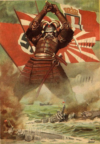 Italian illustration of the 1940 Tripartite Pact (Pact of the Axis) between Japan, Germany and Italy. The propaganda poster extols the Japanese attack on Pearl Harbor.