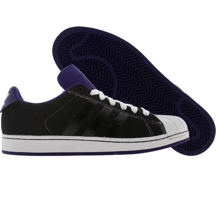 Adidas Superstar OP Shoes in black, college purple, and runninwhite
