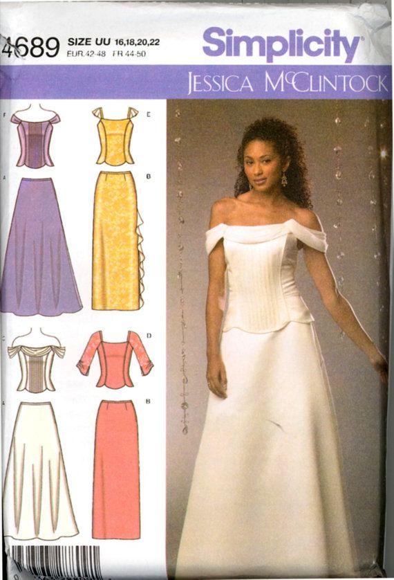 Uncut Jessica McClintock Wedding Dress Sewing Pattern by Vintage Patterns Company