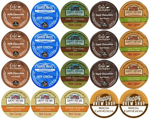 20-count TOP BRAND HOT COCOA K-Cup Variety Sampler Pack, Single-Serve Cups for Keurig Brewers Custom Variety Pack http://www.amazon.com/dp/B00KSK2J24/ref=cm_sw_r_pi_dp_odLCub180DYWX