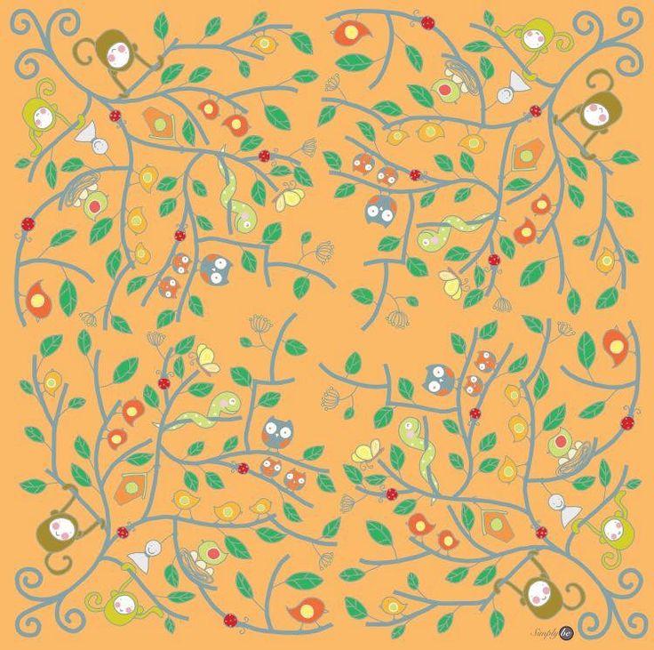 Scarf by Simply be, size 100x100 cm., Silk Satin fabric, Tree - orange