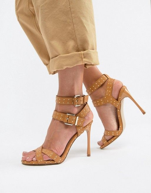 d78ba403a39 Office Hardcore studded camel strappy heeled sandals