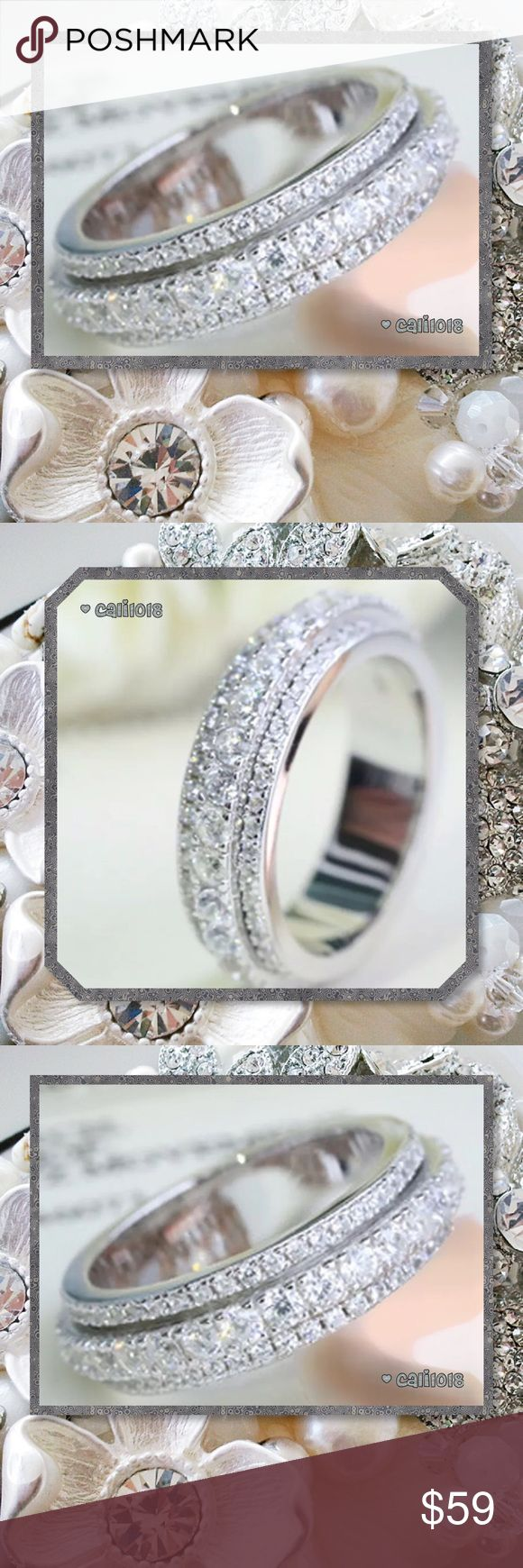 JUST IN Unique Design Eternity Band 925 Silver New Double Layer New Design Eternity Wedding Band Stone Type: White Sapphires Metal Type: 925 Silver Sizes Avail: 6, 7, 8, 9 10 Amazing design; Very Sparkly PRICE FIRM UNLESS BUNDLED ⭐️⭐️LOWBALL AND TRADE OFFERS WILL BE IGNORED (SORRY)⭐️⭐️ Glam Squad 2 You Jewelry Rings