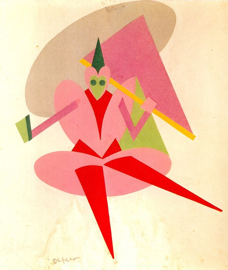 """Fortunato Depero (1892-1960, Italy), 1916-7,  Dancer, Costume for the ballet """"Le Chant du Rossignol"""", Collage of colored papers. #Futurism"""