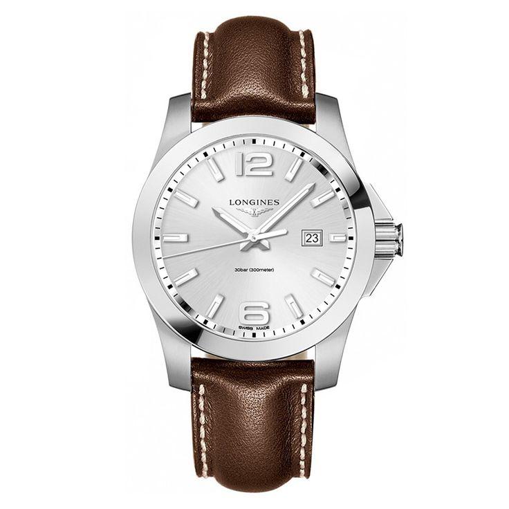 L37604765 Ανδρικό ρολόι LONGINES Conquest quartz με ημερομηνία, ασημί καντράν & καφέ λουρί | Ανδρικά ρολόγια LONGINES ΤΣΑΛΔΑΡΗΣ στο Χαλάνδρι από το 1958 #conquest #classic #longines #ρολόγια